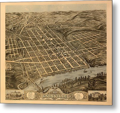 Antique Bird's-eye View Map Of Knoxville Tennessee 1871 Metal Print by Mountain Dreams