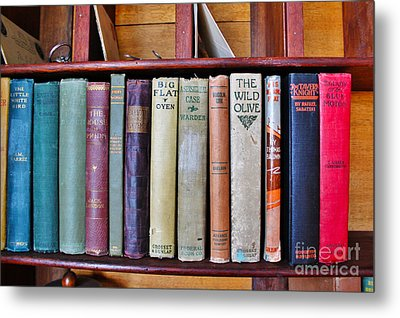 Antique Books On Shelf From 1860 Metal Print by Janice Rae Pariza