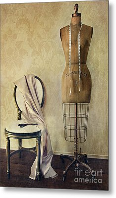 Antique Dress Form And Chair With Vintage Feeling Metal Print by Sandra Cunningham