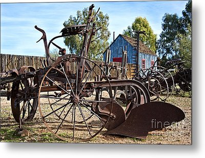 Antique Farm Equipment End Of Row Metal Print by Lee Craig