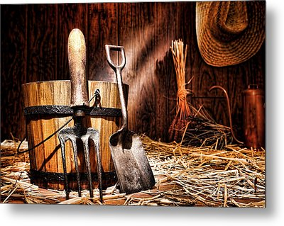 Antique Gardening Tools Metal Print by Olivier Le Queinec