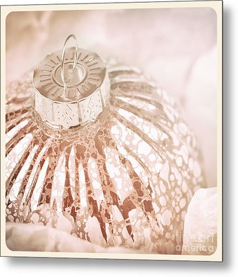 Antique Glass Christmas Tree Bauble Metal Print by Jane Rix
