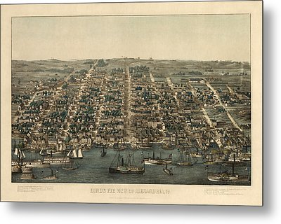 Antique Map Of Alexandria Virginia By Charles Magnus - 1863 Metal Print by Blue Monocle