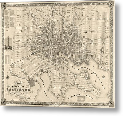 Antique Map Of Baltimore Maryland By Sidney And Neff - 1851 Metal Print by Blue Monocle