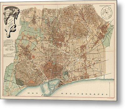 Antique Map Of Barcelona Spain By D. J. M. Serra - 1891 Metal Print by Blue Monocle