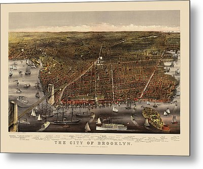 Antique Map Of Brooklyn By Currier And Ives - Circa 1879 Metal Print by Blue Monocle