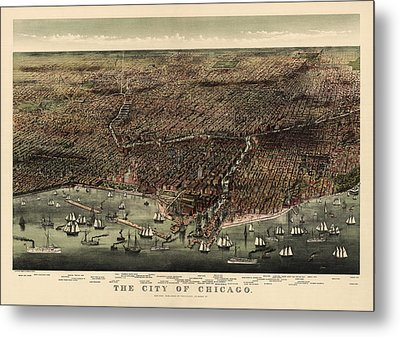 Antique Map Of Chicago By Currier And Ives - 1892 Metal Print by Blue Monocle