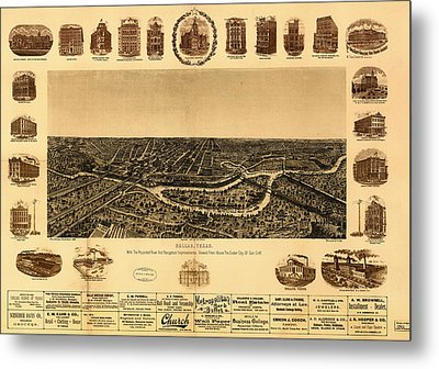 Antique Map Of Dallas 1892 Metal Print by Mountain Dreams