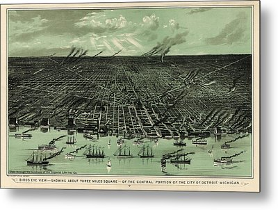 Antique Map Of Detroit Michigan - Circa 1889 Metal Print by Blue Monocle