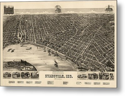Antique Map Of Evansville Indiana By H. Wellge - 1888 Metal Print by Blue Monocle