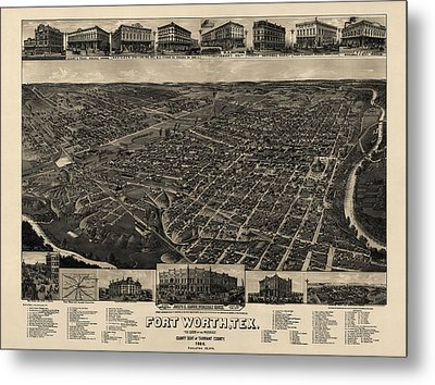Antique Map Of Fort Worth Texas By H. Wellge - 1886 Metal Print by Blue Monocle