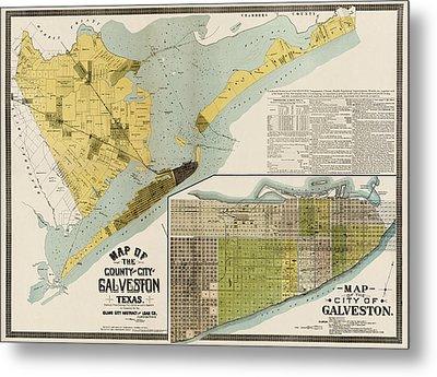 Antique Map Of Galveston Texas By The Island City Abstract And Loan Co. - 1891 Metal Print by Blue Monocle