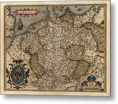 Antique Map Of Germany By Abraham Ortelius - 1570 Metal Print by Blue Monocle