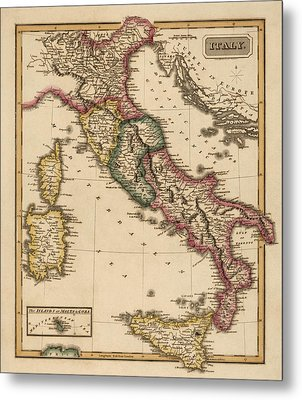 Antique Map Of Italy By Fielding Lucas - Circa 1817 Metal Print by Blue Monocle