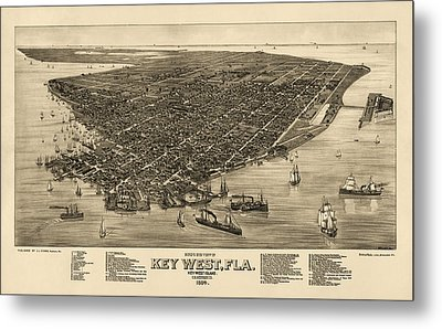 Antique Map Of Key West Florida By J. J. Stoner - 1884 Metal Print by Blue Monocle
