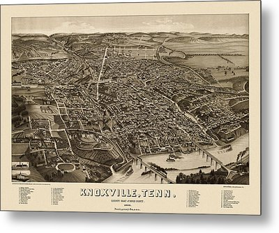 Antique Map Of Knoxville Tennessee By H. Wellge - 1886 Metal Print by Blue Monocle