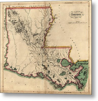 Antique Map Of Louisiana By Mathew Carey - 1814 Metal Print by Blue Monocle