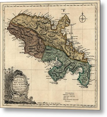 Antique Map Of Martinique By Thomas Jefferys - 1768 Metal Print by Blue Monocle