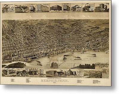 Antique Map Of Memphis Tennessee By H. Wellge - 1887 Metal Print by Blue Monocle