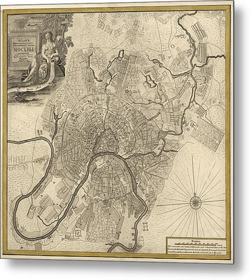 Antique Map Of Moscow Russia By Ivan Fedorovich Michurin - 1745 Metal Print by Blue Monocle