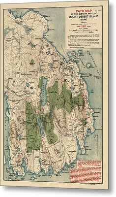 Antique Map Of Mount Desert Island - Acadia National Park - By Waldron Bates - 1911 Metal Print by Blue Monocle