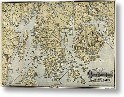 Antique Map Of Mount Desert Island And The Coast Of Maine - Circa 1900 Metal Print by Blue Monocle