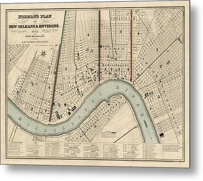 Antique Map Of New Orleans By Balduin Mollhausen - 1845 Metal Print by Blue Monocle