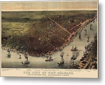 Antique Map Of New Orleans By Currier And Ives - Circa 1885 Metal Print by Blue Monocle