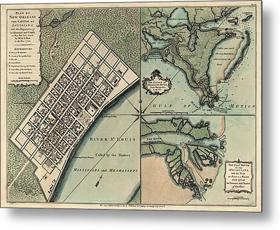 Antique Map Of New Orleans By Thomas Jefferys - 1759 Metal Print by Blue Monocle