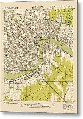 Antique Map Of New Orleans - Usgs Topographic Map - 1932 Metal Print by Blue Monocle