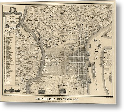 Antique Map Of Philadelphia By P. C. Varte - 1875 Metal Print by Blue Monocle