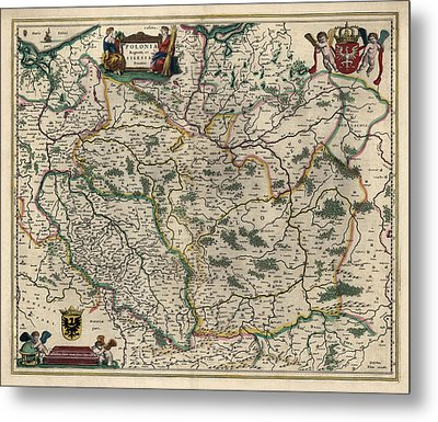 Antique Map Of Poland By Willem Janszoon Blaeu - 1647 Metal Print by Blue Monocle