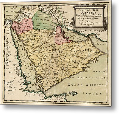 Antique Map Of Saudi Arabia And The Arabian Peninsula By Nicolas Sanson - 1654 Metal Print by Blue Monocle