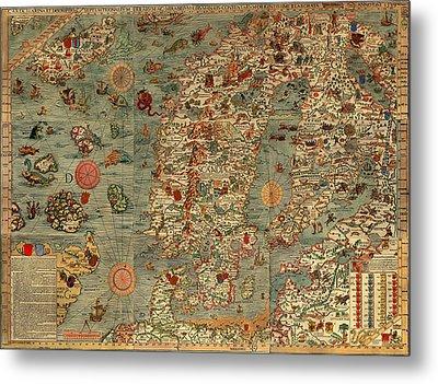 Antique Map Of Scandinavia 1539 Metal Print by Mountain Dreams