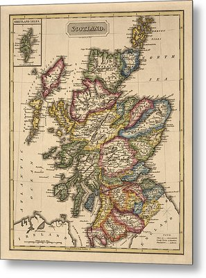 Antique Map Of Scotland By Fielding Lucas - Circa 1817 Metal Print by Blue Monocle