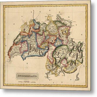 Antique Map Of Switzerland By Fielding Lucas - Circa 1817 Metal Print by Blue Monocle