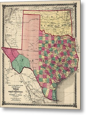 Antique Map Of Texas And Oklahoma By H. H. Lloyd And Co. - 1875 Metal Print by Blue Monocle