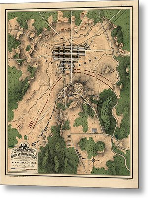 Antique Map Of The Battle Of Gettysburg By William H. Willcox - 1863 Metal Print by Blue Monocle