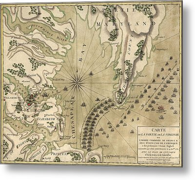 Antique Map Of The Battle Of Yorktown Virginia By Esnauts Et Rapilly - Circa 1781 Metal Print by Blue Monocle