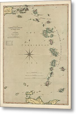 Antique Map Of The Caribbean - Lesser Antilles - By Mathew Richmond - 1789 Metal Print by Blue Monocle