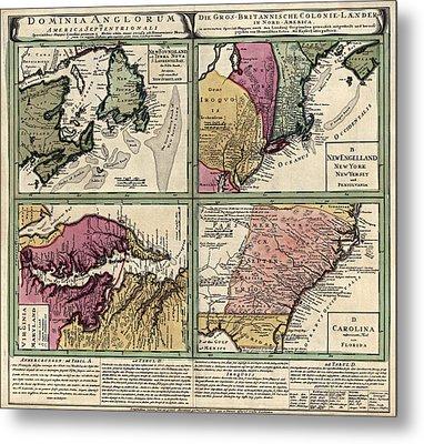Antique Map Of Colonial America By Homann Erben - Circa 1760 Metal Print by Blue Monocle