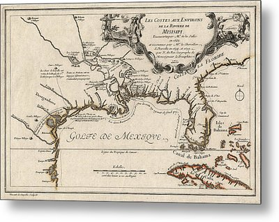 Antique Map Of The Gulf Coast And The Southeast By Nicolas De Fer - 1701 Metal Print by Blue Monocle