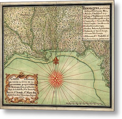 Antique Map Of The Gulf Coast By Alexandre De Batz - 1747 Metal Print by Blue Monocle
