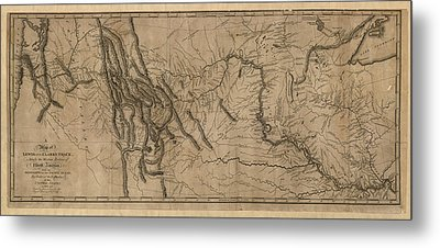 Antique Map Of The Lewis And Clark Expedition By Samuel Lewis - 1814 Metal Print by Blue Monocle