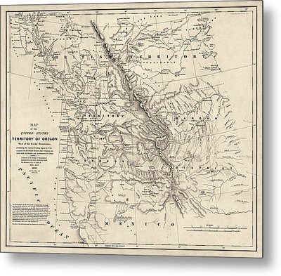 Antique Map Of The Pacific Northwest By Washington Hood - 1838 Metal Print by Blue Monocle