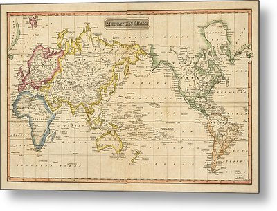 Antique Map Of The World By Fielding Lucas - Circa 1817 Metal Print by Blue Monocle