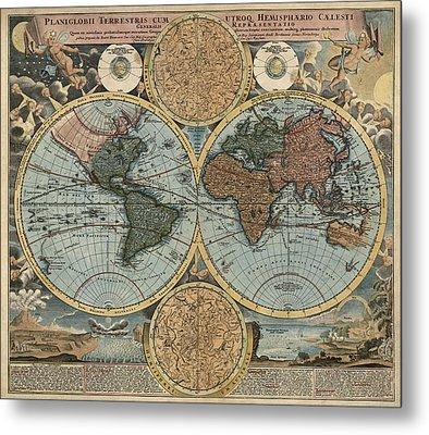 Antique Map Of The World By Johann Baptist Homann - Circa 1716 Metal Print by Blue Monocle