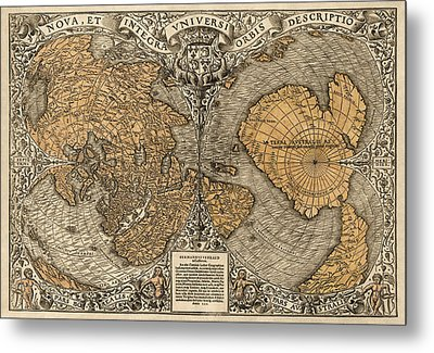 Antique Map Of The World By Oronce Fine - 1531 Metal Print by Blue Monocle