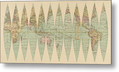 Antique Map Of The World By Rand Mcnally And Company - 1887 Metal Print by Blue Monocle