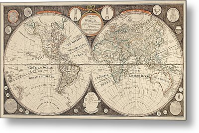 Antique Map Of The World By Thomas Kitchen - 1799 Metal Print by Blue Monocle